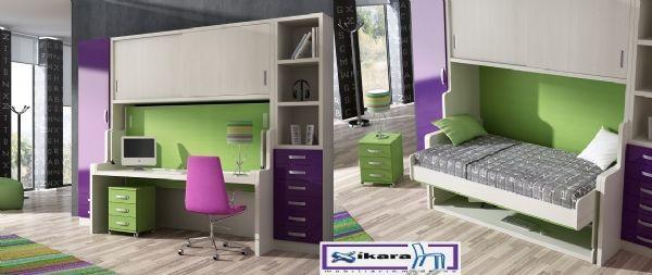 Cama abatible con escritorio 5 - Cama con mesa estudio y puertas correderas