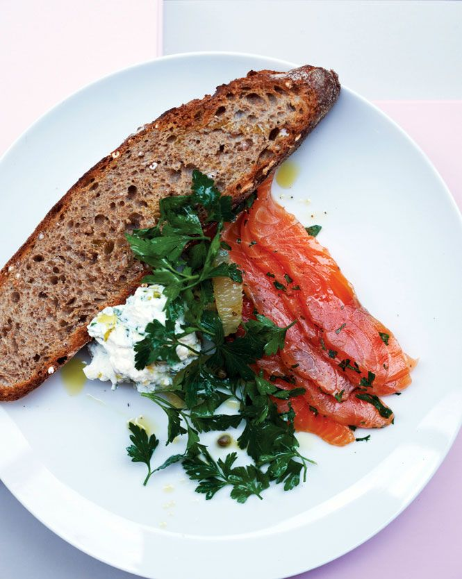Granger & Co.'s salmon gravlax with ricotta.