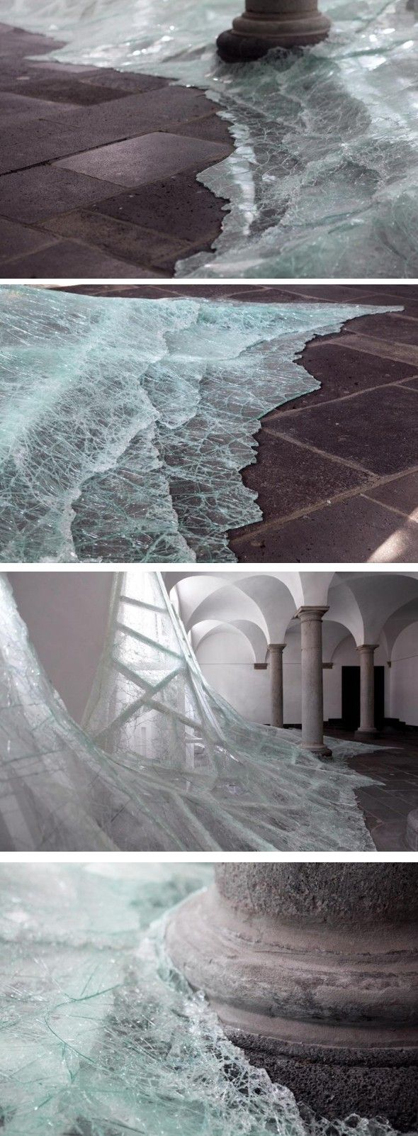 Aérial is a new on-site installation by artist Baptiste Debombourg in a beautiful Abbey called Brauweiler Pulheim near Cologne in Germany.  Debombourg used many layers of glass, wood, nails and white paint. It tries to mimic a flood of water rushing into a room or the grip of the ice on a location.