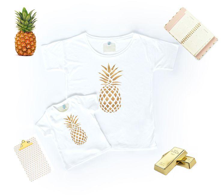 T-shirt Set Mama und Baby / Kind mit Ananas Gold