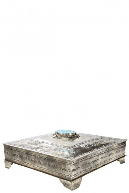 Gentil Large Turquoise Stamped Box | Calypso St. Barth