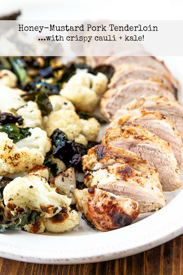 Sheet pan supper: easy oven roasted pork tenderloin in honey-mustard marinade with crispy cauliflower and kale. One pan dinner!