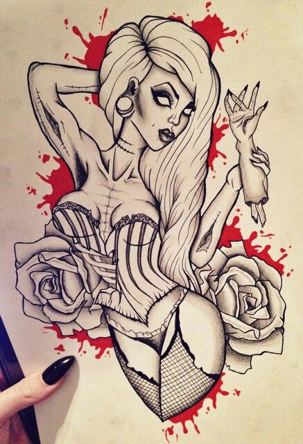 Gorgeous Gothic Pin Up Zombie Girl Tattoo Ideas Blood & Roses