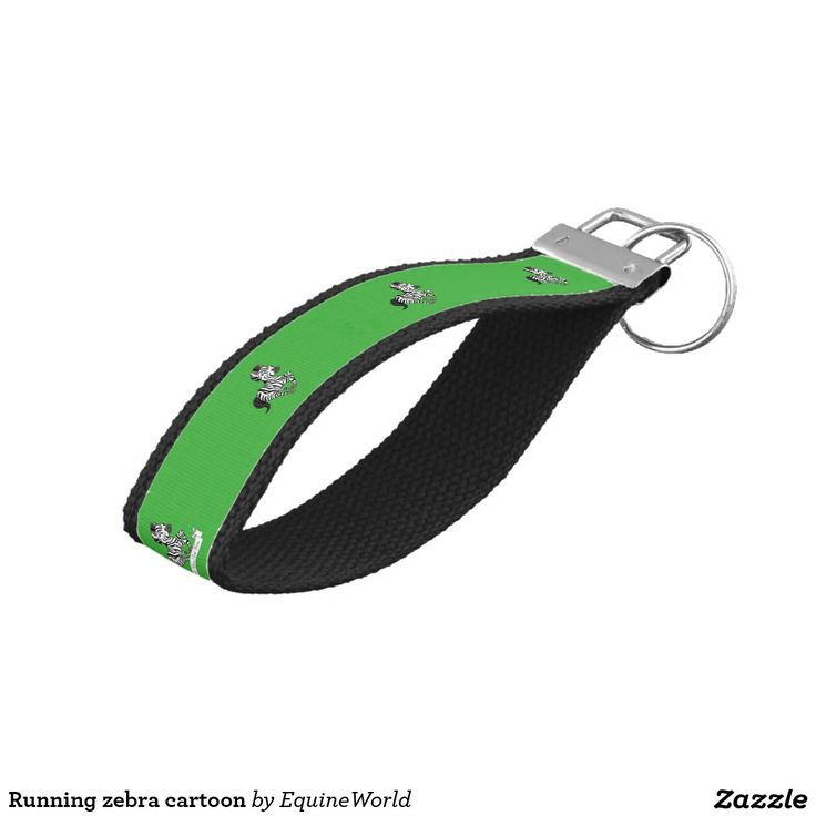Running zebra cartoon wrist keychain