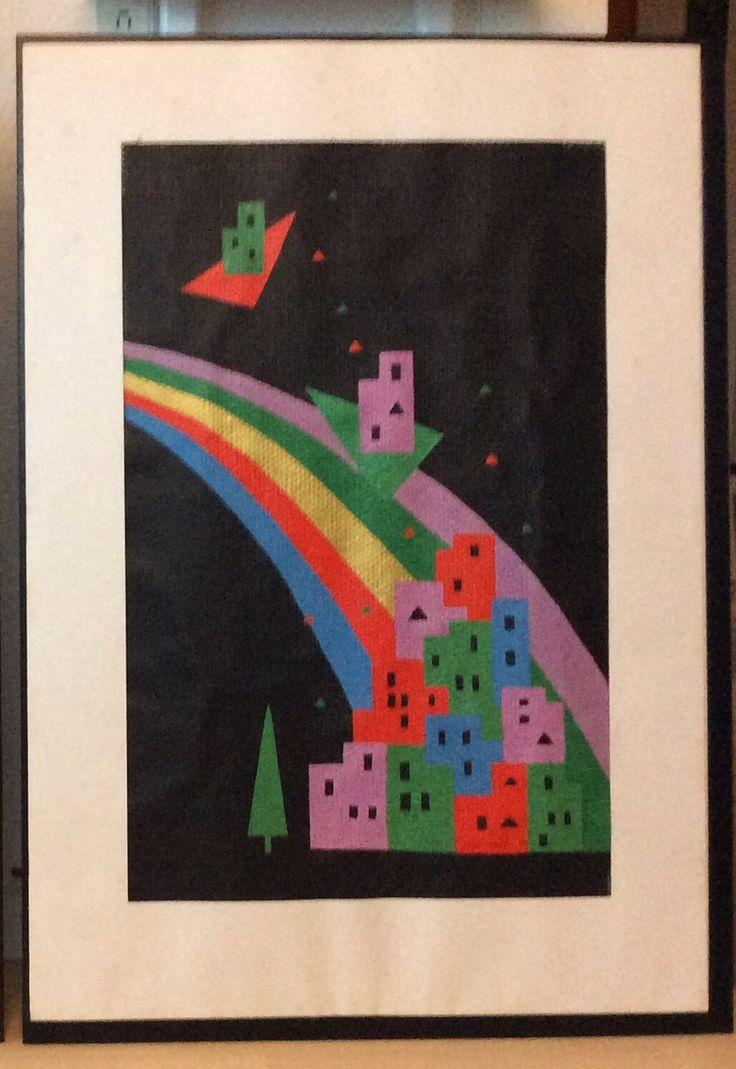 """Fra serien """"Et øjebliks klarsyn"""" IV, fra 1988/89 Akryl på glasvæv. Med passepartout 70 x 100 cm"""