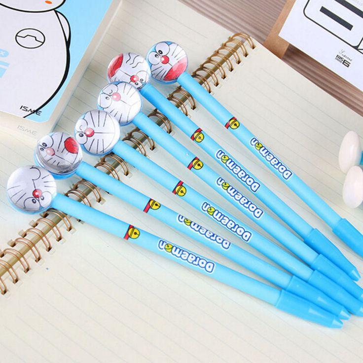 6 Pcs Doraemon  Marker Pen Cute Cartoon Unique Novelty Stationery Gift Ink Pen