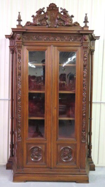 19th c. ITALIAN CARVED OAK CHINA CABINET w/ GRIFFINS : Lot 206