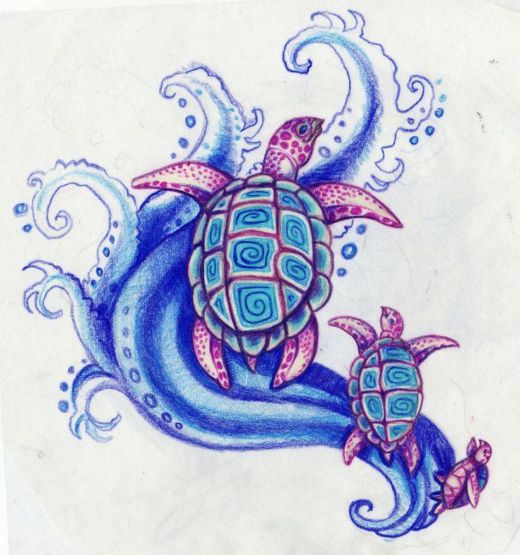Hawaiian turtle designs color - photo#18