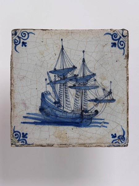 Wall tile, made Friesland?, Netherlands, 1650-1700, tin-glazed earthenware with painted decoration in blue, a ship V C.572:4-1923