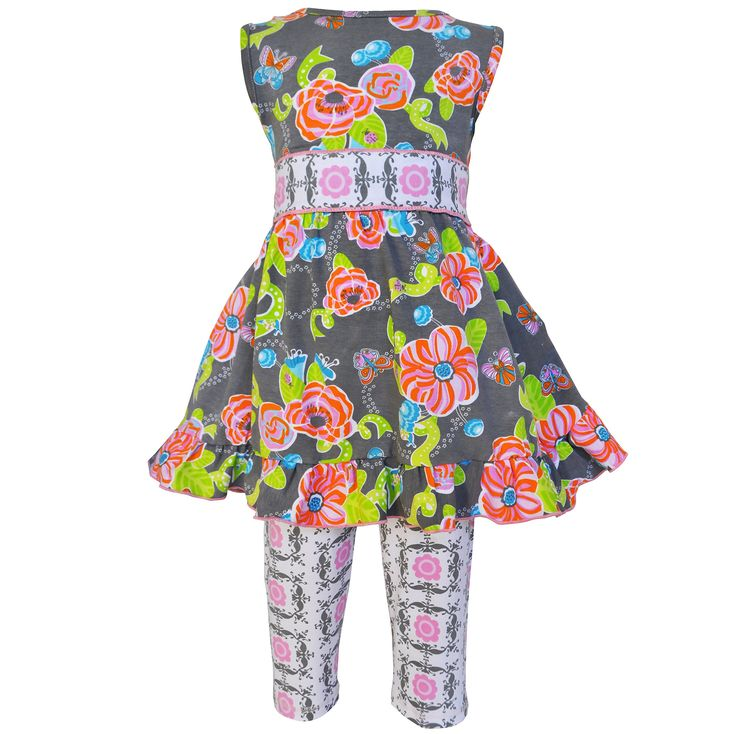 AnnLoren Little Girls Grey Pink Floral Lady Bug Butterfly Dress Pant Set 6/6X. Dress features an original AnnLoren Butterfly and Ladybug print. Grey and Pink Damask sash to tie behind the back. Damask Capri Leggings boast an elastic waistband for a perfect fit!. 100% cotton, machine washable. AnnLoren Little Girls sz 6 /6X Floral Butterfly and Ladybugs Dress and Capri Outfit.