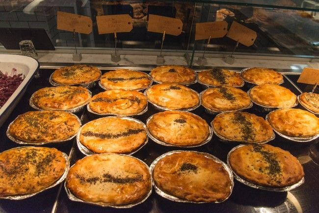 Warm pies filled with meat and veg served with mashed potato. A traditional London dish.