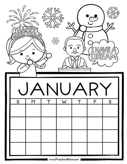 Free 12-Month set of Calendar for students to Write and Color. This set is super cute and features monthly themes and holidays.