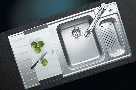 Suter flush-mount kitchen sink with drainer