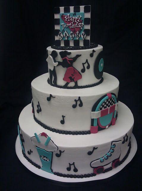 the 50's themed | 50's Themed Birthday Cake