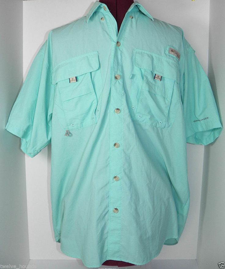 Men 39 s pfg columbia shirt omni shade vented button front for Mens fishing shirts