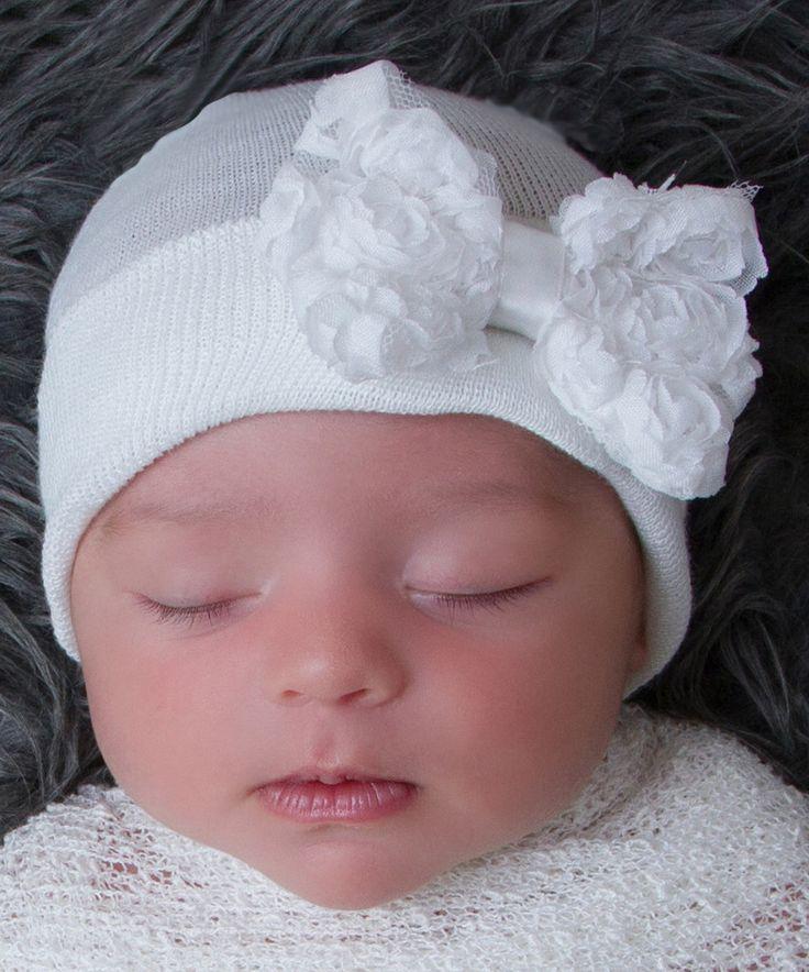 This Infanteenie Beenie White Rosette Bow Beanie by Infanteenie Beenie is perfect! #zulilyfinds