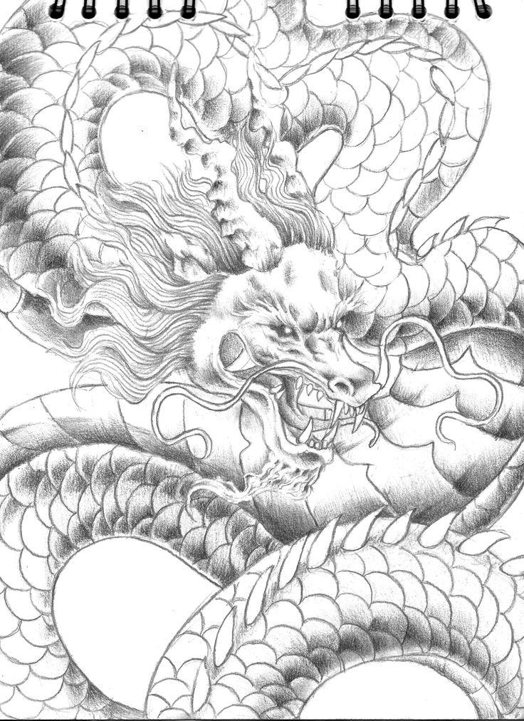 Dibujo a lápiz de dragón japonés