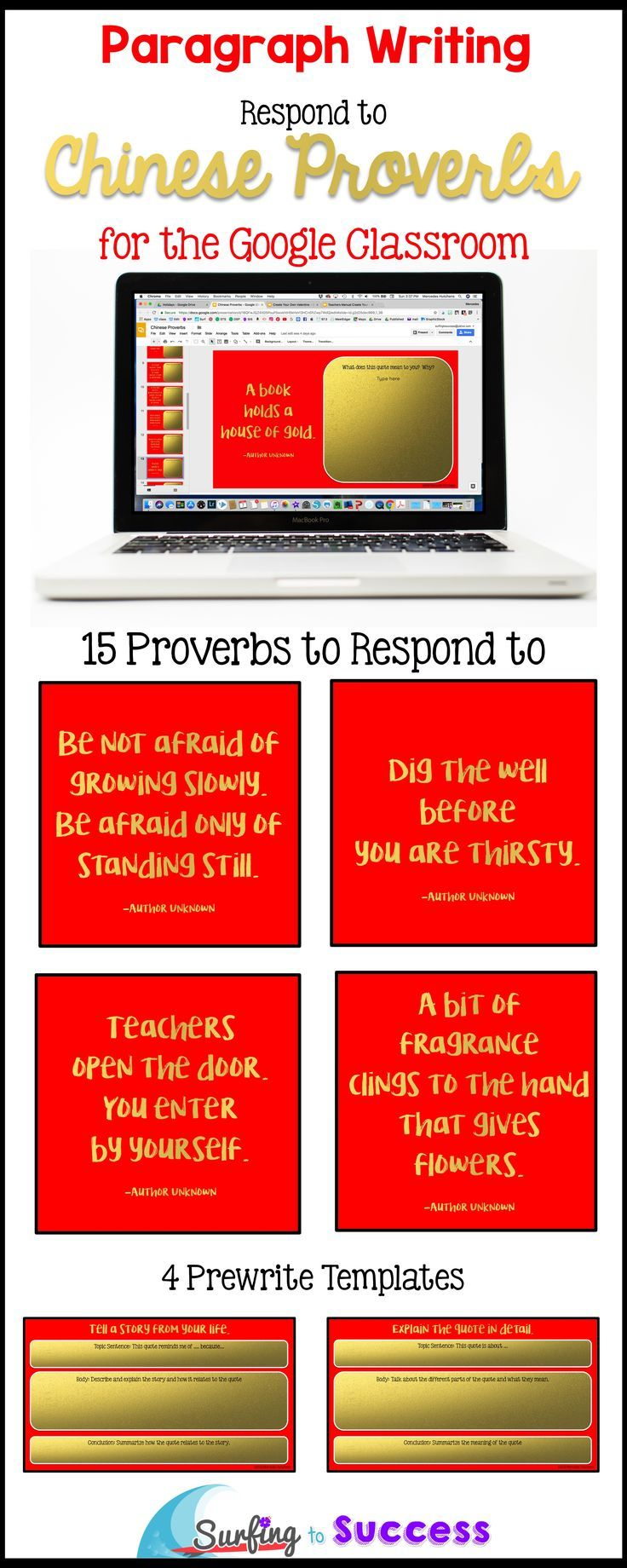 Looking for a Chinese New Years Activity? This digital resource in Google Slides allows students to choose a prewrite template to fit their response to a Chinese Proverb or saying. Students write a paragraph in response to each quote. Great Bellringer / Do Now activity for the beginning of class.