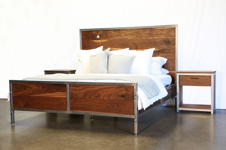 "Walnut Industrial Bedroom Set. Our Walnut Industrial Bedroom Set is hand-crafted to order for each of our customers. Every bed is built entirely at our studio in Los Angeles with quality, creativity and attention to detail. Our goal as an emerging company is to elevate expectations and show the world that creativity and passion are worth investing in. This bedroom set includes a bed, two nightstands and a dresser. The frames of our beds are built using 1.5"" square steel tubing. This…"
