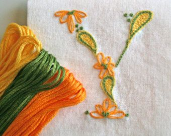 Crewel Embroidery Kit  DIY Pattern pdf n Monogram Y is for yellow instant download tutorial flower embroidery kit