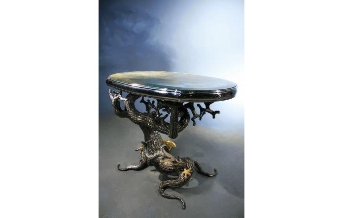 Mark Brazier Jones 2013, Table à l'étoile de mer, Acier patiné argent, cuivre, feuilles d'or, miroir à l'antique, pièce unique  , 55 X 75 cm, hauteur  60 cm