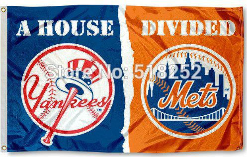 New York Yankees and NY Mets House Divided Flag 3x5 FT 150X90CM Banner 100D Polyester. Brand Name: YIRINAStyle: FlyingUsage: DecorationFlags & Banners Material: PolyesterType: PrintedModel Number: 150x90cmFabric: 100D polyesterFlagpole Material: withoutsize: 3x5FTModel Number: 0184Name: seabowcolor: blue white yellow