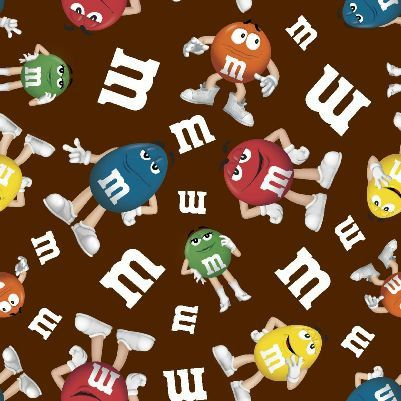 3 yards M & M Candy Characters LOGO Cotton fabric by weiselect, $23.55