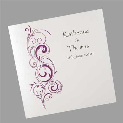 Flourish Square Folding Wedding Invitation - The flourish design is available in a variety of different colours.