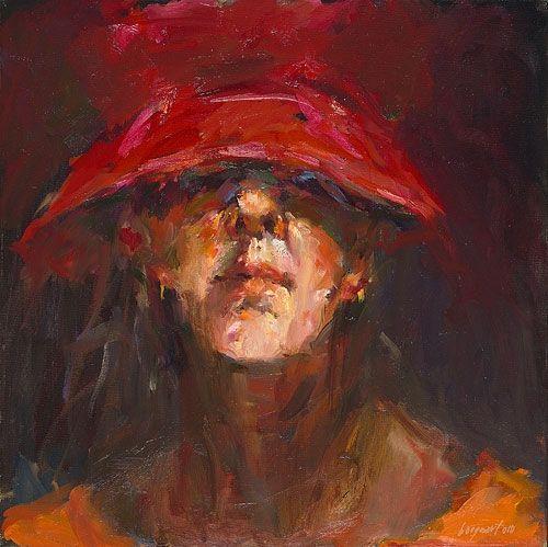 Dinie Boogaert, self-portrait, oil on canvas 2010, 40x40cm