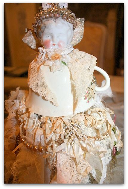 Tea Cup Fairy by Karla Nathan: Dolls Dolls, Cups Dolls, Altered Dolls