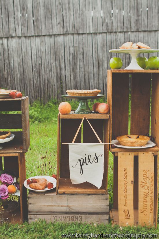 Rustic wedding pie bar | Vintage Summer Farm-to-Table Wedding - Sugar Cream all the way!