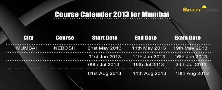 Course Calender 2013 for Mumbai, India