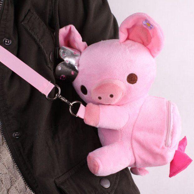 Kawaii crown pig small backpack hang bag SE947