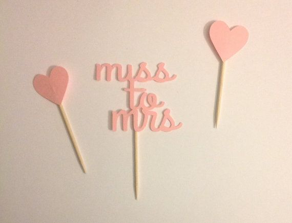 Cupcake toppers. Bridal shower. Future mrs. Bride to be. Miss to Mrs cupcake topper tooth picks Great by SEVENTHandJ, $6.00