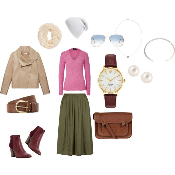 Olive Skirt Urban Style by edeln on Polyvore featuring, Polo Ralph Lauren, Helmut Lang, Dune, The Cambridge Satchel Company, Karapetyan, Kate Spade, Henri Bendel, Ray-Ban and MANGO