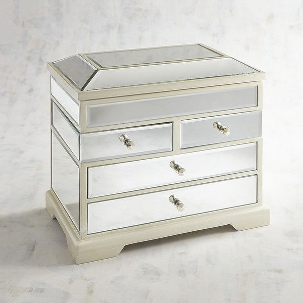 Pier 1 Imports Clear Mirrored Tall Jewelry Box ($152) ❤ liked on Polyvore featuring home, home decor, jewelry storage, wood jewelry box, wooden jewelry box, wood jewelry chest, mirrored glass jewelry box and wood home decor