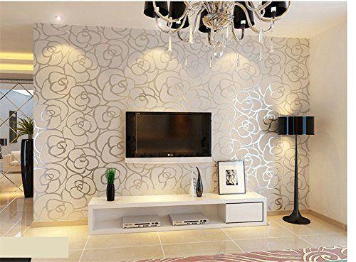 Hanmero European Fashion High-grade Big Rose Flower Pattern Embossed Flocking Nonwoven Wallpaper Roll for Living Room Bedroom 0.53m*10m=5.3㎡ Silver Hanmero http://www.amazon.com/dp/B00YMHG09W/ref=cm_sw_r_pi_dp_nG7Ovb1VQMF22