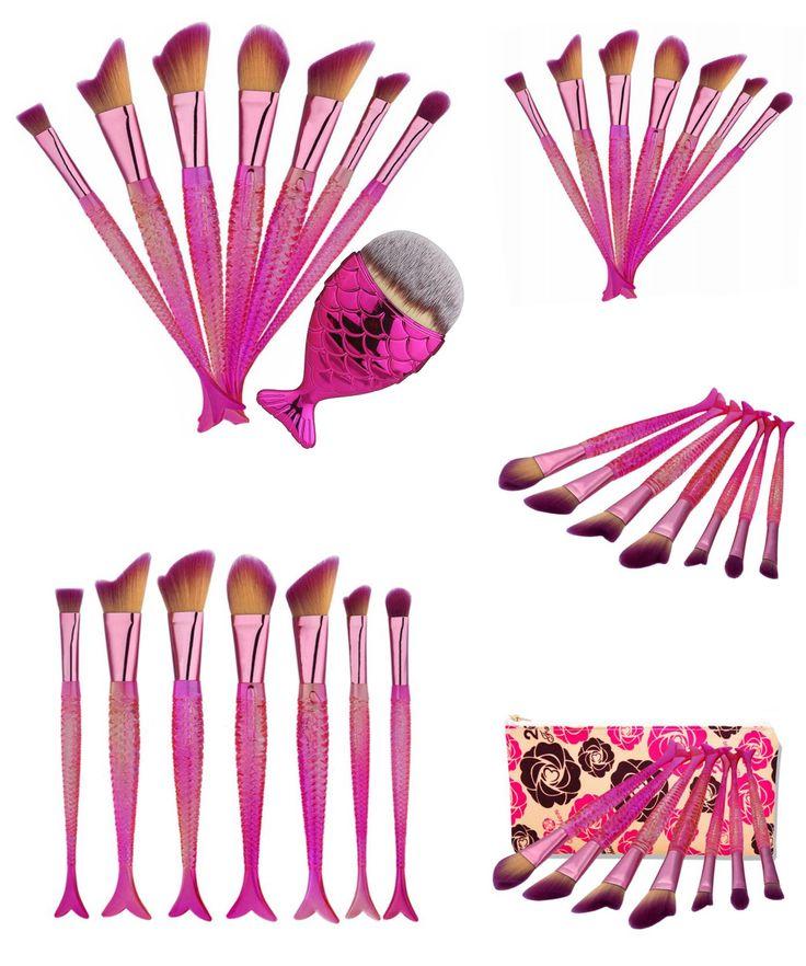 [Visit to Buy] Professional New Design Makeup Brushes Set Beauty Mermaid Brushes Foundation Kabuki Brush Cosmetics Excellent Makeup Brushes Kit #Advertisement