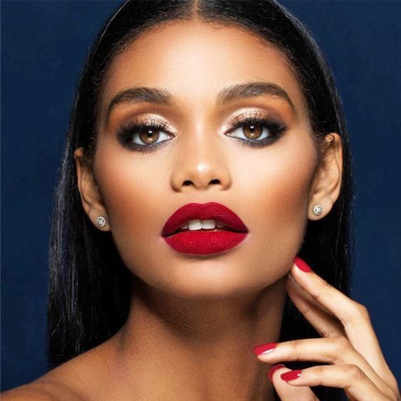 The Perfect Red Lip As Pretty As Red Flowers For Every Skin Tone  Best Lipstick for Dark Skin Tones picture 1  See more: glaminati.com/... #makeup #makeuplover #makeupjunkie