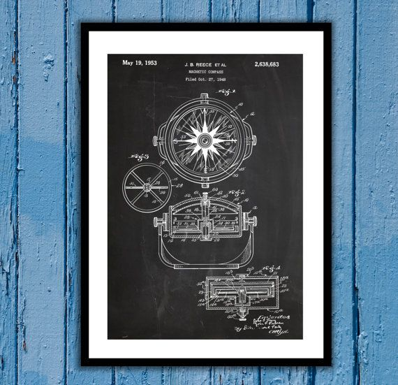 Magnetic Compass Patent, Magnetic Compass Poster, Magnetic Compass Blueprint, Compass Print, Compass Art, Compass Decor by STANLEYprintHOUSE  3.00 USD  We use only top quality archival inks and heavyweight matte fine art papers and high end printers to produce a stunning quality print that's made to last.  Any of these posters will make a great affordable gift, or tie any room together.  Please choose between different sizes and col ..  https://www.etsy.com/ca/listing/263241689/mag..