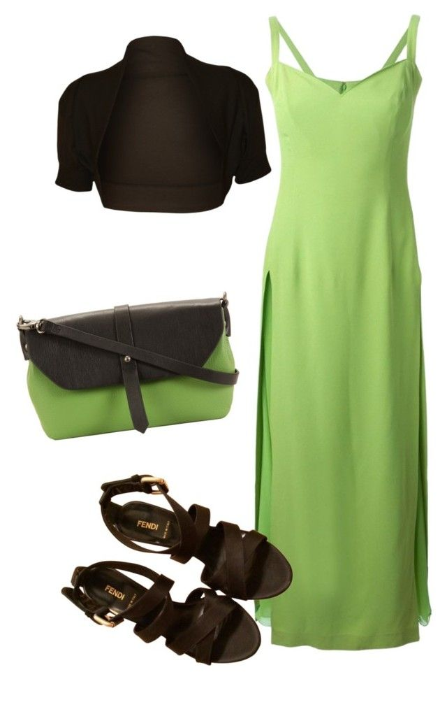 Brown - green by slavka-cesnek on Polyvore featuring Versace, WearAll, Fendi and Hadaki