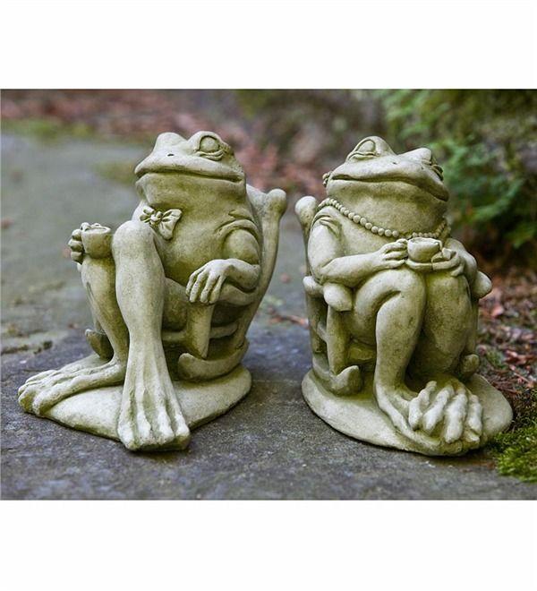 Основное изображение для производства США Литой камень кофе и чай лягушки статуи сада
