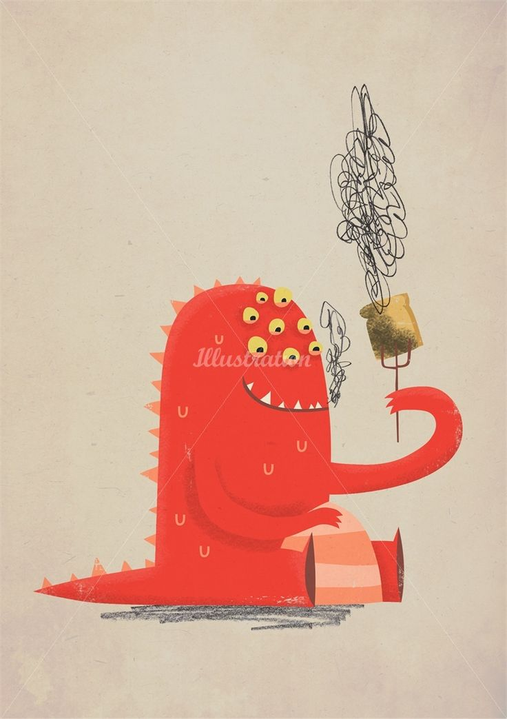 Toast monster illustration by Duncan Beedie