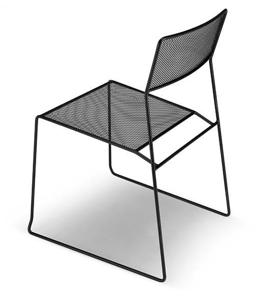 Sedia a slitta da giardino impilabile LOG MESH by AREA DECLIC design Matteo Manenti, Simone Cannolicchio