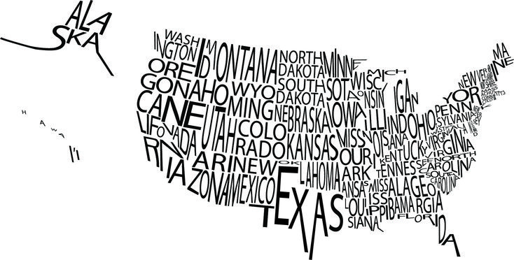 Typographic US Map