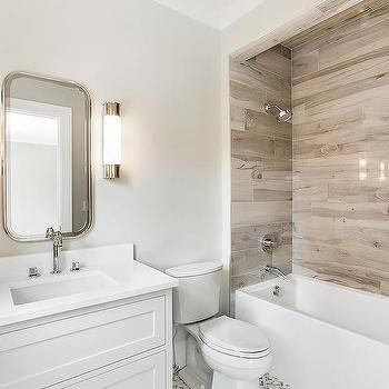 drop in bathtub with faux wood tiles | wood tile shower