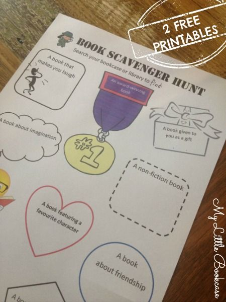 Book scavenger hunt printable by My Little Bookcase