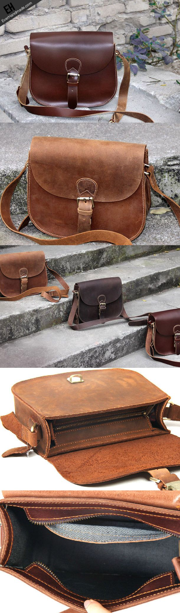 Handmade vintage leather messenger crossbody Shoulder Bag for girl wom | EverHandmade