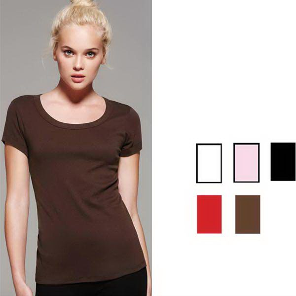 Ladies baby rib S/S scoop neck tee 9.6 oz. 100% Combed and ring-spun cotton. Contact 780-426-5646 to order!