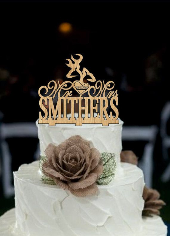 Deer Wedding Cake TopperCountry Wedding Cake by Customorderhouse